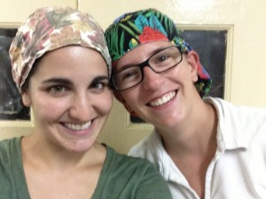 Drs. Jen and Angela excited about newly donated surgical caps.